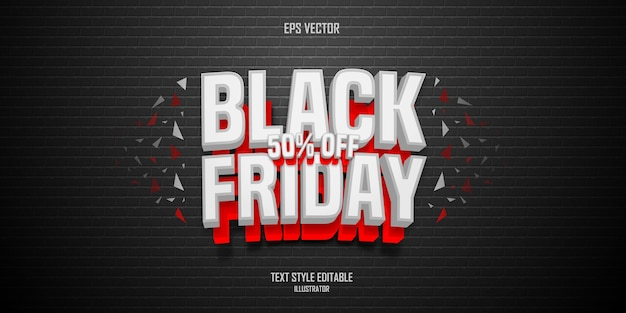 Black friday 3d text style effect