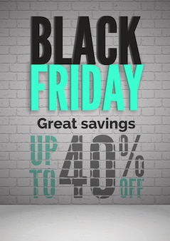 Black friday 40 percent off sale realistic  poster template. shopping great savings. special offers for customers promotion. seasonal discounts advertising banner layout