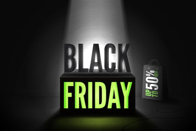 Black friday 50 percent offer vector banner template. realistic shopping bag with price reduction inscription. poster design with green neon light discount offer on 3d cube under limelight