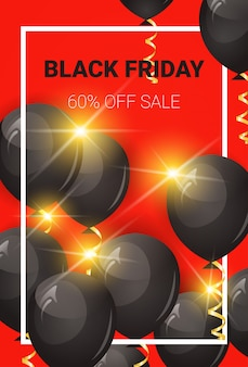 Black friday 60 percent off sale banner with air balloons and frame