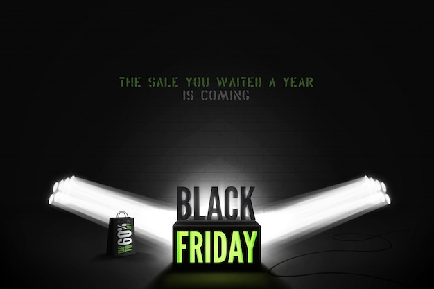 Black friday 60 percent sale vector banner template. two searchlight rays illuminating shopping bag and neon light cube with discount promo. stylish seasonal clearance advert poster design layout
