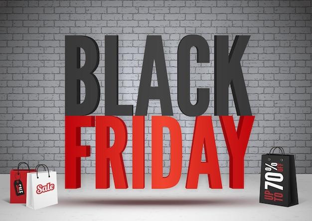검은 금요일 70%는 배너 템플릿을 제공합니다. 벽돌 벽 배경에 체적 비문입니다. 계절 판매 광고가 있는 3d 쇼핑백. 가격 인하, 할인 포스터 디자인 레이아웃