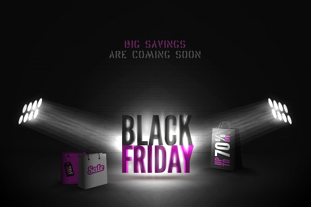 Black friday 70 percent sale vector banner template. limelight rays illuminating 3d shopping bags with annual mega discounts advert. stylish seasonal sale, shopping event poster design