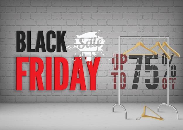 ブラックフライデーのベクターバナーテンプレートが75%オフ。レンガの壁にグランジスタイルの白いペンキのスプラッシュとスタイリッシュな碑文。ハンガー付き3dラック、洋服の季節限定クリアランスはポスターデザインのレイアウトを提供します