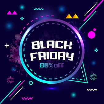 Black friday 80% off special flash sale creative geometry banner