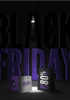 Black friday 80 percent discount poster template. trendy uppercase letters inscription. 3d shopping bags with tags illuminated by lamp light in darkness. creative final sale banner design layout