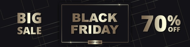 Black friday, abstract golden wide banner template. sale up to 70% off. black friday luxury dark golden wide background.