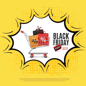 Черная пятница рекламный плакат на желтом фоне с тележкой для покупок в иллюстрации комиксов