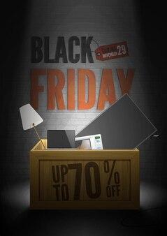 Черная пятница рекламный вектор плакат шаблон. 29 ноября сезонная распродажа. деревянный ящик с подсветкой со скидкой 70% при покупке бытовой техники и электроники.