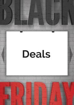 검은 금요일 광고 현실적인 벡터 웹 배너 템플릿입니다. 매달려 흰색 포스터 그림에 판매 발표입니다. 검정 및 빨강 인쇄술이 포함된 저렴한 가격의 프로모션 포스터 레이아웃