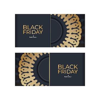 Черная пятница рекламный шаблон темно-синего цвета с абстрактным золотым орнаментом