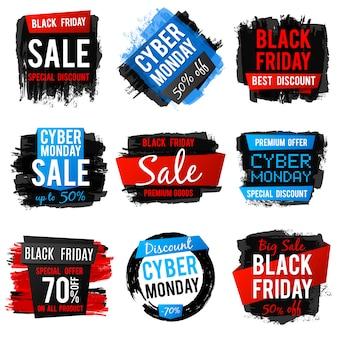 Черная пятница и кибер понедельник продажа баннер с большой скидкой и лучшими предложениями. ценники с текстурой и рамками кисти гранж. векторная иллюстрация скидка баннер коллекция цен