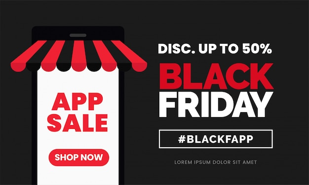Black friday app sale discount banner template