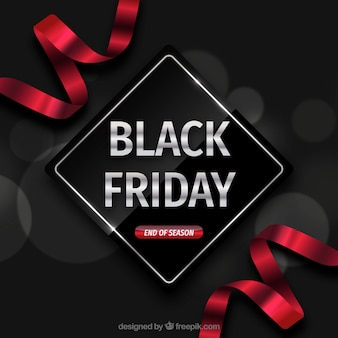 Black friday backgroudn with red ribbons
