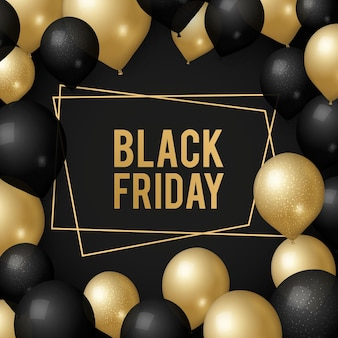 Black friday background. gold balloons, sale shopping days banner template. season discount poster design with golden frame and realistic decorations vector illustration. black friday offer poster