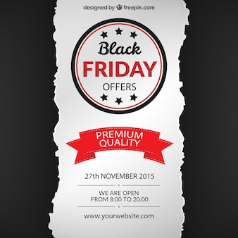 Black friday background in torn paper style