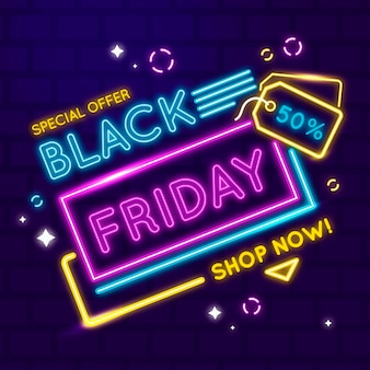 Black friday background neon design
