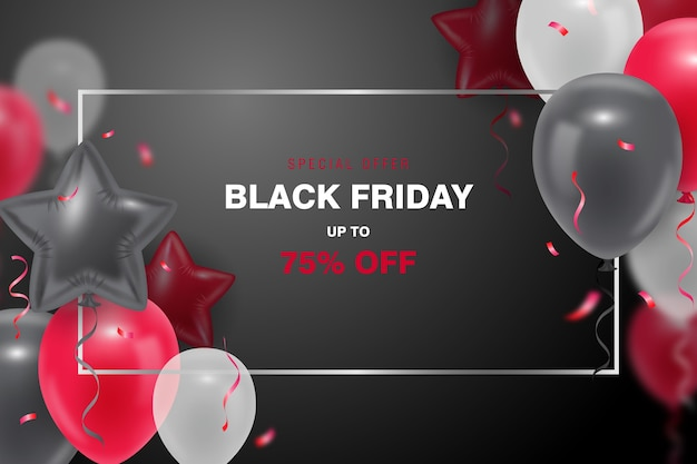 Black friday background  with 3d balloon