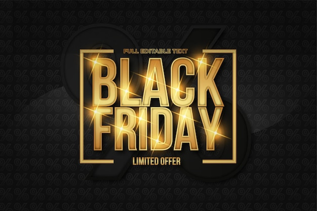 Black friday background with elegant golden text effect