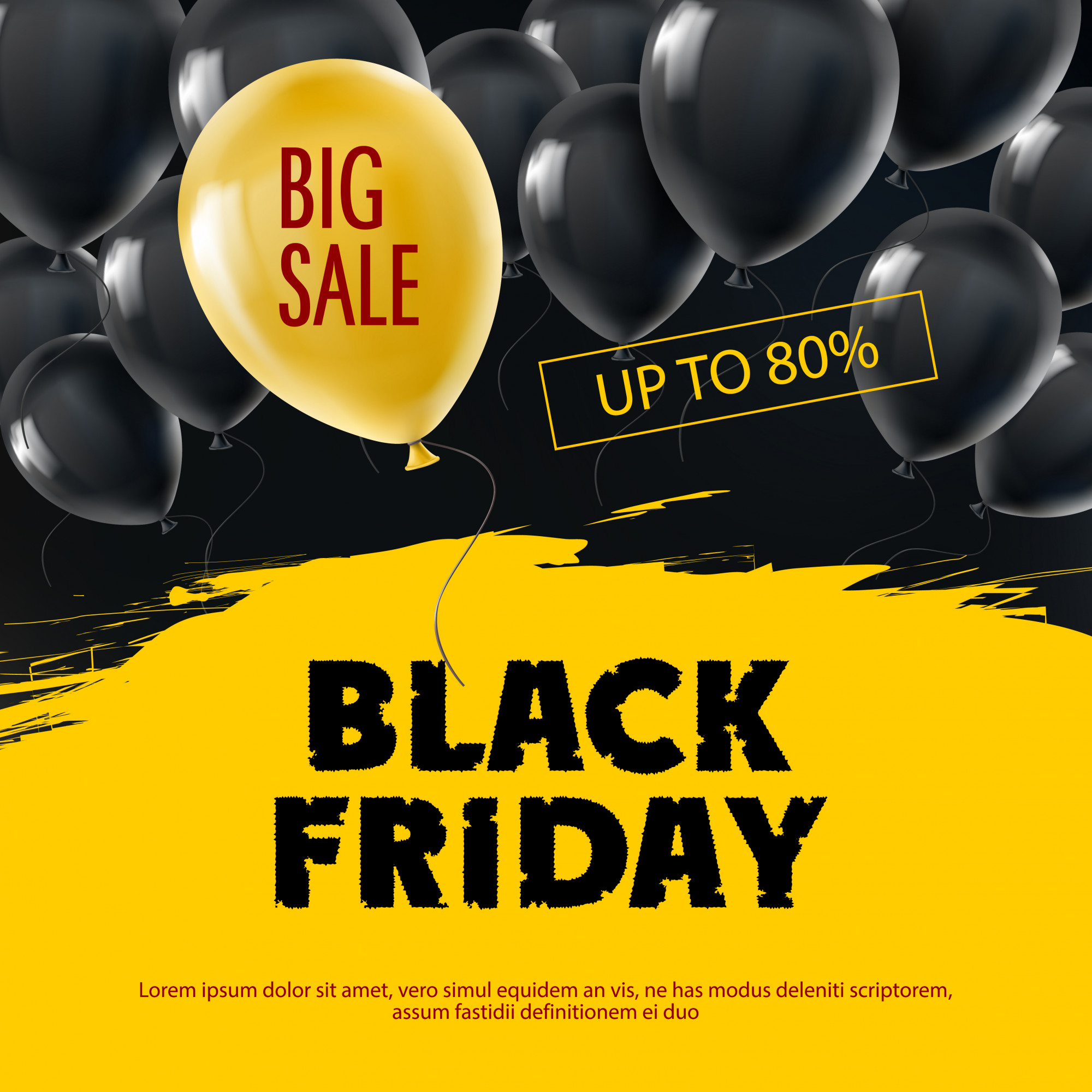 Black Friday background with flying realistic balloons.