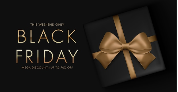 Black friday background with gift box