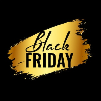 Black friday background with golden splatter brush stroke