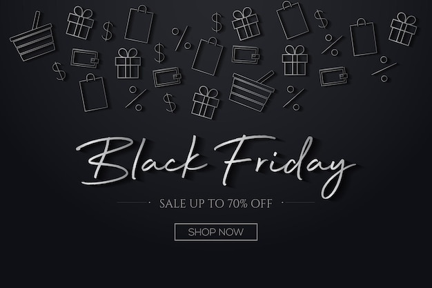 Black friday background with a grey and black shopping elements vector