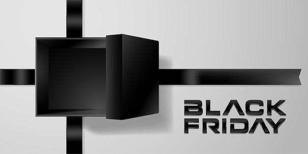 Черная пятница фон с открытой подарочной коробкой