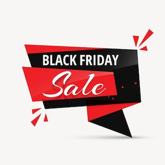 Black friday background with origami ribbon