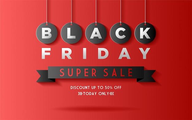Black friday background with paper cut style