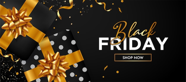Black friday background with realistic 3d black gift