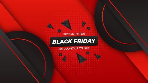 赤と黒のグラデーションとブラックフライデーの背景 Premiumベクター