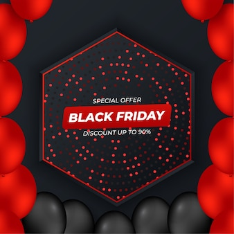 Черная пятница фон с красным и черным градиентом