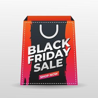 Черная пятница фон с шаблоном хозяйственной сумки