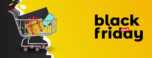 Black friday background with supermarket cart