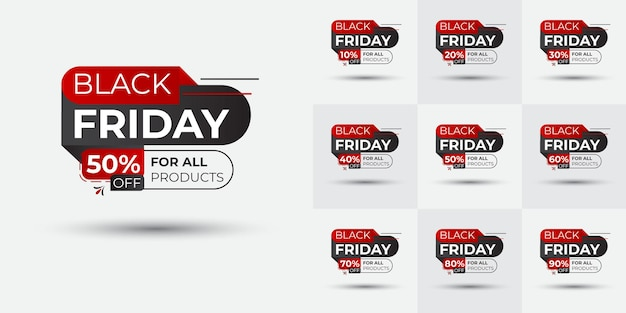Дизайн комплекта карточек со значком черной пятницы креативные и динамичные формы баннер черной пятницы