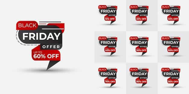 Дизайн комплекта карточек «черная пятница» креативные и динамичные формы предложение «черная пятница»