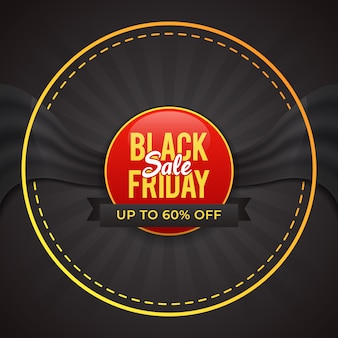 Black friday badge sale banner with flag in circle design