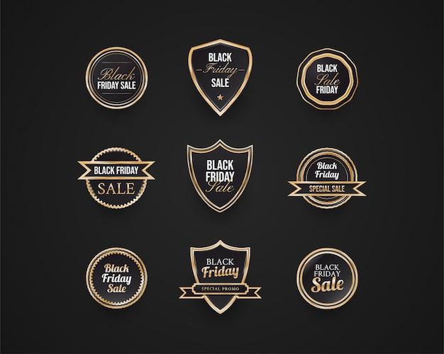 ブラックフライデーバッジとラベルコレクション、ブラックとゴールドのコンセプト
