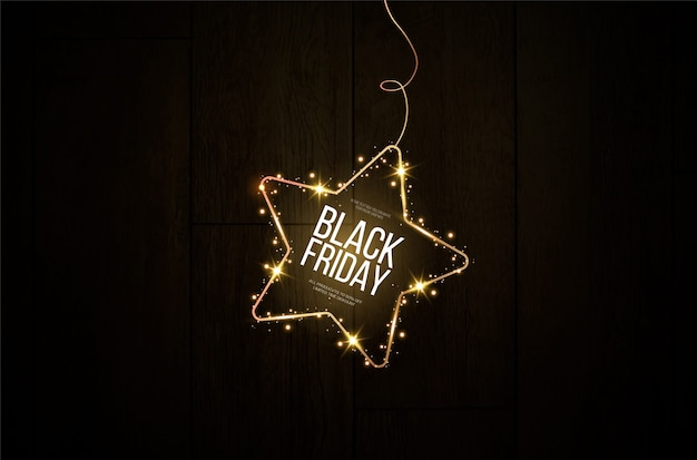 Черная пятница баннер. праздничная золотая светящаяся рамка, усыпанная золотой пылью.