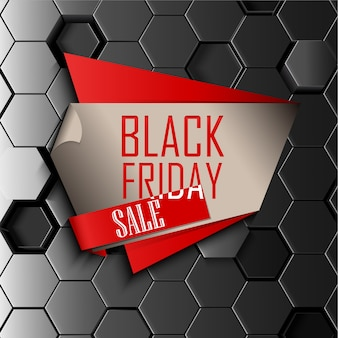 Black friday banner on abstract metal hexagonal background
