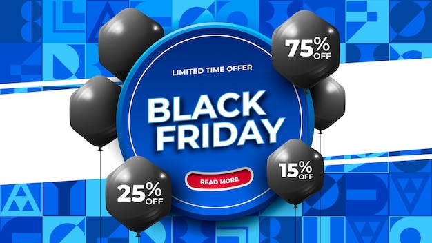 Black friday banner on blue abstract ornament