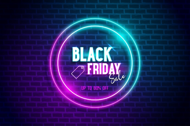 Black friday banner blue and pink neon light circle frame with brick wall