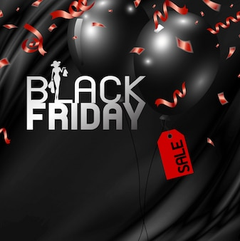 Black friday banner design of balloons with tag and red ribbon