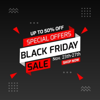 Black friday banner design with sale