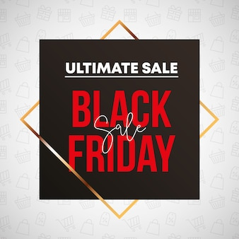 Black friday banner design with square shape and gold rhombus frame for sale icons