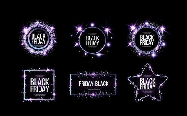 Black friday banner .  a festive golden, glowing frame that is strewn with gold dust.