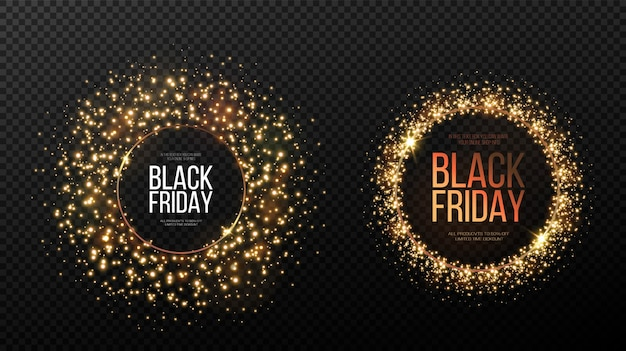 Black friday banner. a festive golden, glowing frame that is strewn with gold dust.