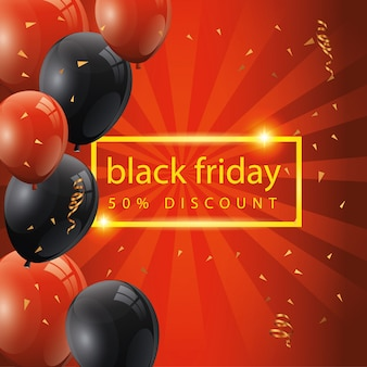 Black friday banner and fifty discount with balloons helium decoration