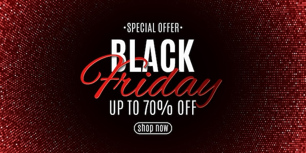 Black friday banner. halftone pattern and stylish lettering. red glitter.